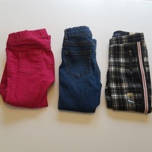 Girl's Size 4T Jegging Lot of 3 Plaid Pink Denim